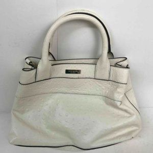 City Charm Bow Purse White Ostrich Leather Tote